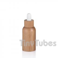 Botella Vidrio 30ml con Revestimiento de Bambú